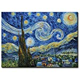 Amei Art Paintings, 24X36 Inch The Starry Night by Vincent Van Gogh - Oil Painting Reproductions Modern Home Decor Wall Art Painting Wood Inside Framed Hanging Wall Decoration Abstract