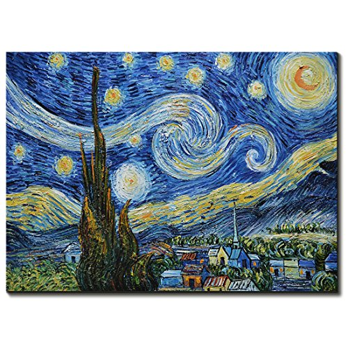 Amei Art Paintings, 24X36 Inch The Starry Night by Vincent Van Gogh - Oil Painting Modern Home Decor Wall Art Painting Wood Inside Framed Hanging Wall Decoration (Starry Night Framed)