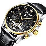 GOHUOS Men's Leather Auto Date Day Month Calendar Automatic Self Wind Mechanical Wrist Watches