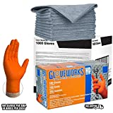 AMMEX Gloveworks HD XL Orange Nitrile Gloves (CASE of 1000) Disposable, Powder Free 8 Mil + 10 Exta Large Microfiber Polishing/Cleaning Cloth
