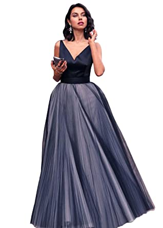DYS Womens Navy Blue V Neck Prom Dress A Line Tulle Evening Homecoming Dresses (0