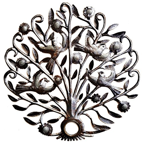 "Metal Garden Tree with Birds and Flowers, Haitian Steel Drum Art 21"" X 21"""