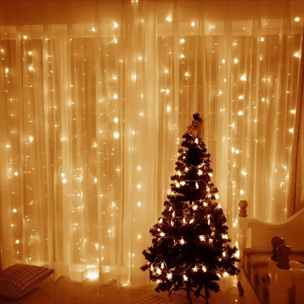 TOFU Christmas Window Lights 8 Modes Remote, 300 LED Warm White Hanging Curtain String Lights Indoor Outdoor Christmas, Home, Church, Balcony, Holiday, Party Decorations, UL Certified