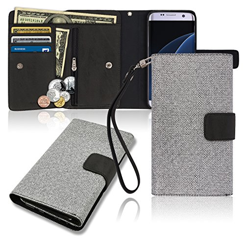 Galaxy S7 Edge Wallet Case, Zipper [3 Credit Card / ID / Cash / Coin] Pockets With Wrist Strap, TPU Jelly PU Leather Cellphone Mobile Phone Flip Diary Cover Small Pouch Clutch Bag Wristlet (Black)
