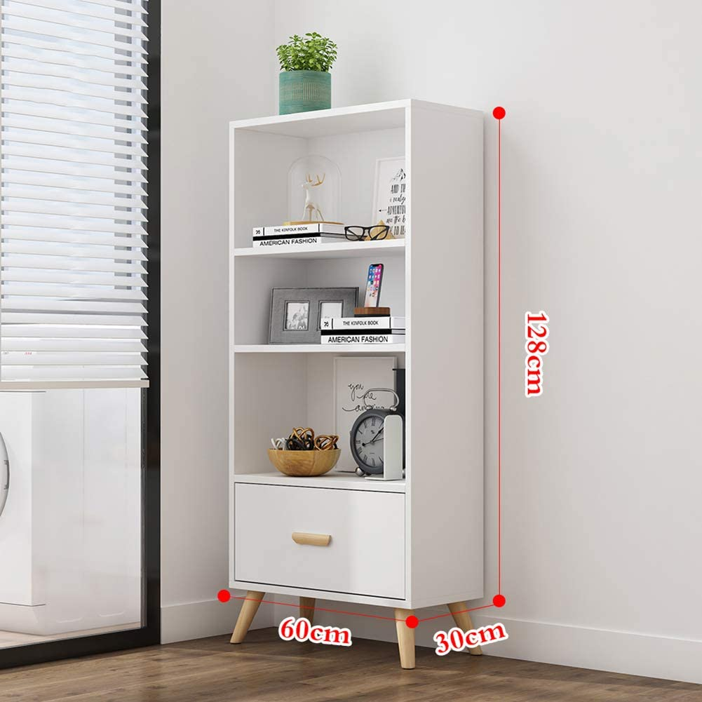 Wooden Bookshelf,Open Bookcase with Drawers Side Corner Storage Cabinet Decor Furniture for Home Office Easy Installation White C 60x30x128cm(23.6x11.8x50.4inch)