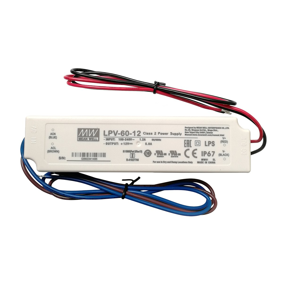 MW LPV-60-12 LED Driver Outdoor Waterproof AC-DC 12V 5A Power Supply for LED Sealed Panel Mount LPV Series (12V)