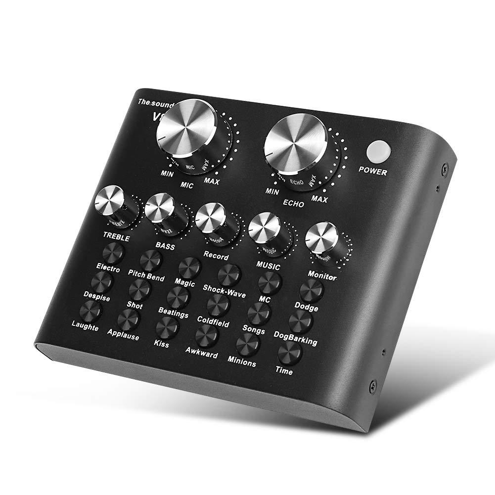 Amazon com: DricRoda Live Sound Card, Portable Audio Mixer DJ Sound