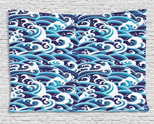 - Ambesonne Japanese Wave Tapestry, Traditional Eastern Pattern with Waves of Water Foam Splashes, Wall Hanging for Bedroom Living Room Dorm, 60 W X 40 L Inches, Blue Navy