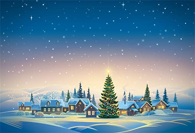 Cartoon Christmas Backdrop Vinyl 8x6.5ft Snowy Forest Frosty Pine Trees Santa Claus Driving The Reindeers Bokeh Haloes Background Child Kids Baby Portrait Shoot New Year Xmas Party Banner