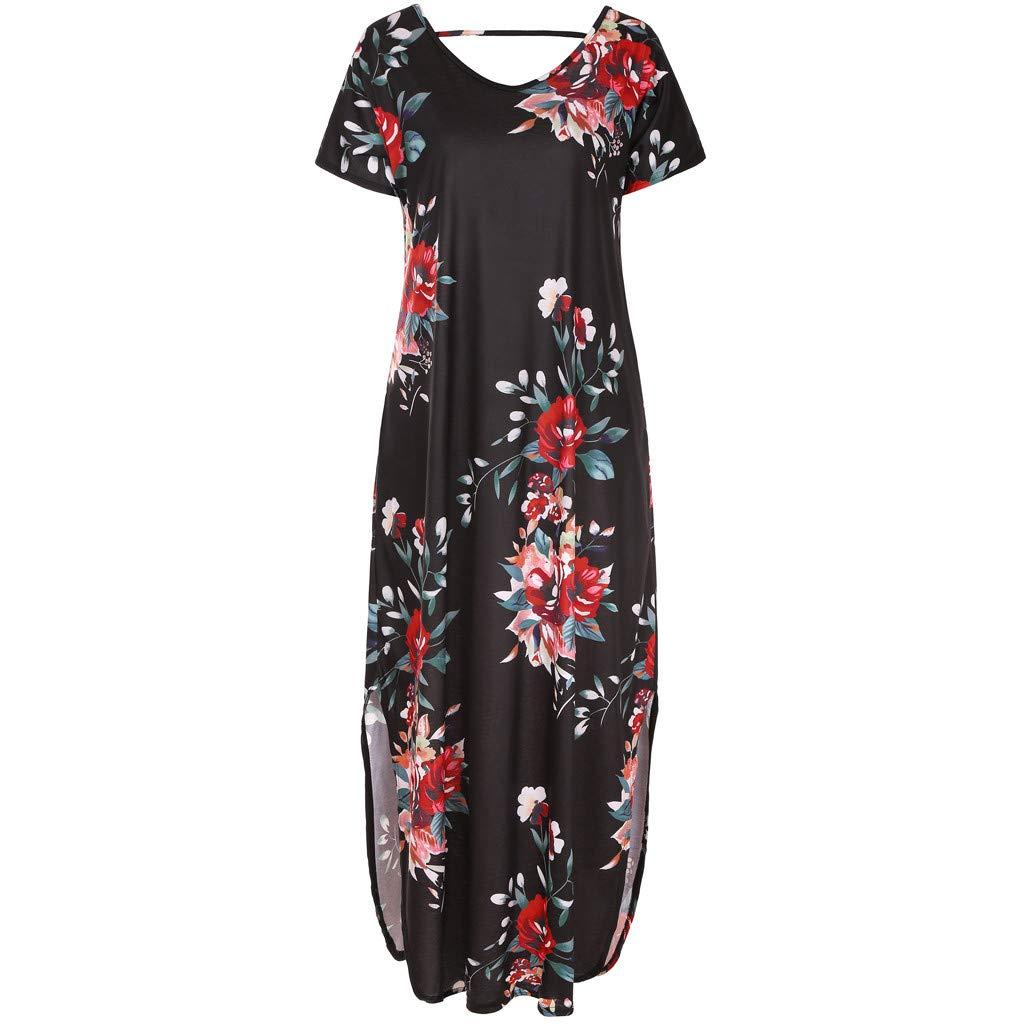 Lloopyting Women's Print Casual Loose Pocket Long Straight Dress Short Sleeve V-Neck Fashion Maxi Dress Black by Lloopyting (Image #5)
