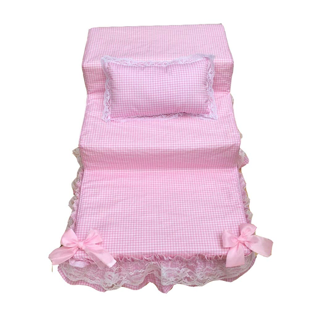 PINK 3-step Pet Stair Dog Cat Climbing Supplies Step Ladder Removable & Washable Cotton Cover,40cm × 65cm × 30cm (color   PINK)
