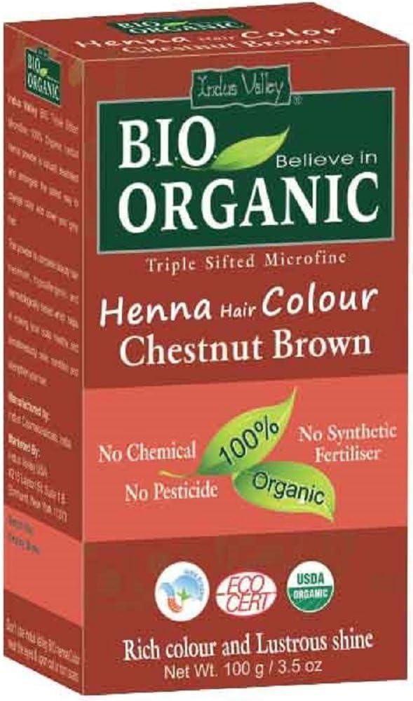 Indus Valley Henna Tinte para el cabello Castaño Marrón 100% Bio Orgánico Triple tamizado Microfine Polvo (Chestnut Brown)