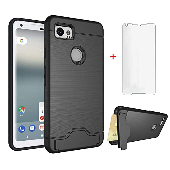 Google Pixel 2 XL Wallet Phone Case with Tempered Glass Screen Protector  Credit Card Holder Stand Kickstand Women Men Girls Slim Heavy Duty Silicone
