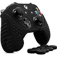 CHIN FAI FAI per Xbox One Controller Skin, Custodia Antiscivolo in Silicone Custodia Microsoft Controller con 8 x Thumb Stick Grip Caps (Nero)