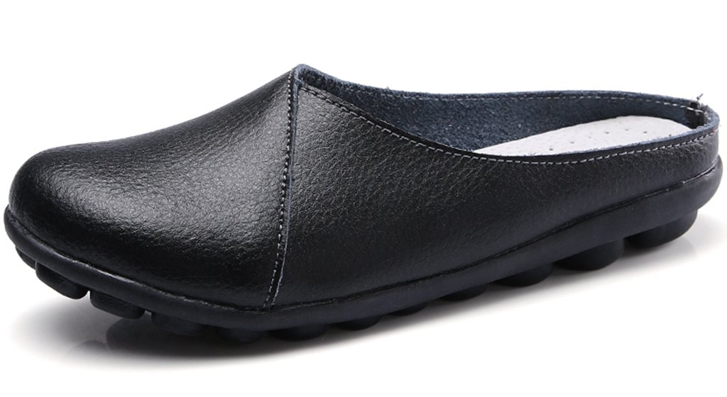 Clarsunny Women's Leather Casual Flat Slipper Soft Closed Toe Slip-on Loafer (9 B(M) US, Black)
