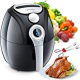 Air Fryer,Blusmart Electric Air Fryer, 3.4Qt/3.2L 1400W, LED Display, Hot Air Fryer,Healthy Oil Free for Cooking/Baking (Recipes & Kitchen Tongs Included)
