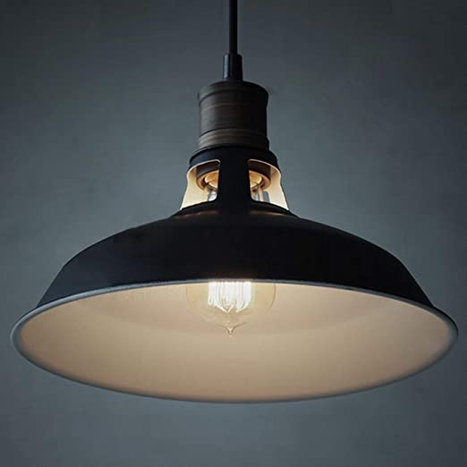 Fnifnk Pantalla de lámpara Industrial Metal Negro Colgante Retro ...