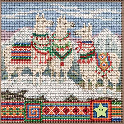Hill Buttons Mill Beads - FA La La Llamas Beaded Counted Cross Stitch Kit Mill Hill Buttons & Beads 2019 Winter Series MH141935
