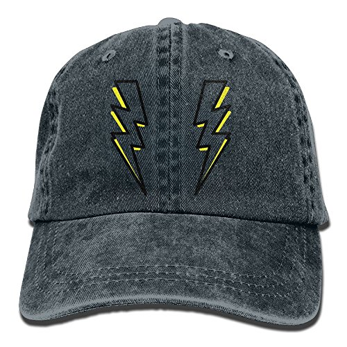Bolt Hat (Arsmt Two Lightning Bolts Denim Hat Adjustable Men's Snapback Baseball Cap)