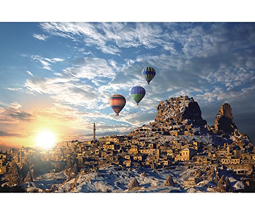 Funnybox The-Hot-Air Balloon in Winter at Sunrise-Mountain,Tower,Snow Gleams,White Clouds- 1000 Piece Wooden Jigsaw Puzzles for Teens and ()
