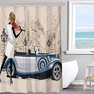 """Fabric shower curtain 54""""x72""""inchUrban,Hand Drawn Illustration of Street Musician Retro Cars and Old Buildings Vntage,Beige and Brown European Style Decoration Bathroom Curtains(Durable environmental)"""