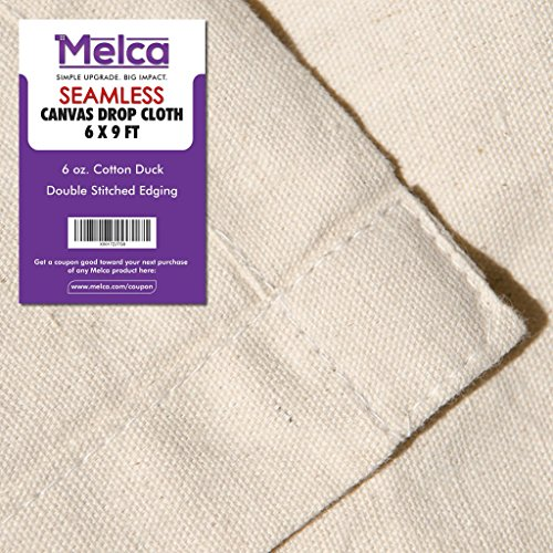 Drop Cloth Tarp Art Supplies - 6x9 Finished Size, Seams Only On The Edges, New Unmarked Fabric, Cotton Duck Fabric - Be Confident You Have The Canvas You Need.