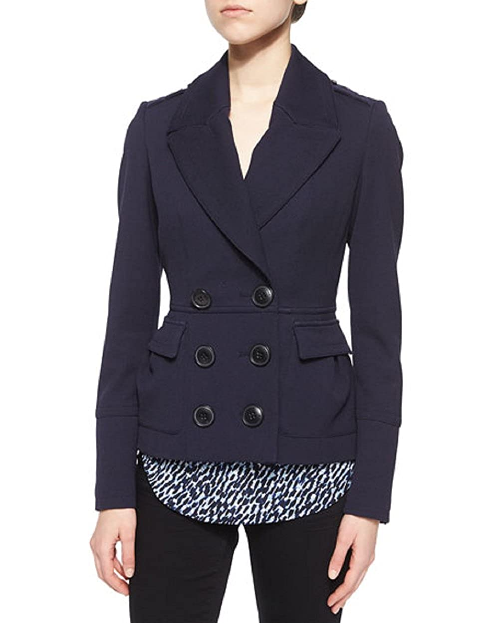 5b26502ff Amazon.com: Burberry Brit Warrington Short Slim Pea Coat, Navy, Sz 4:  Clothing