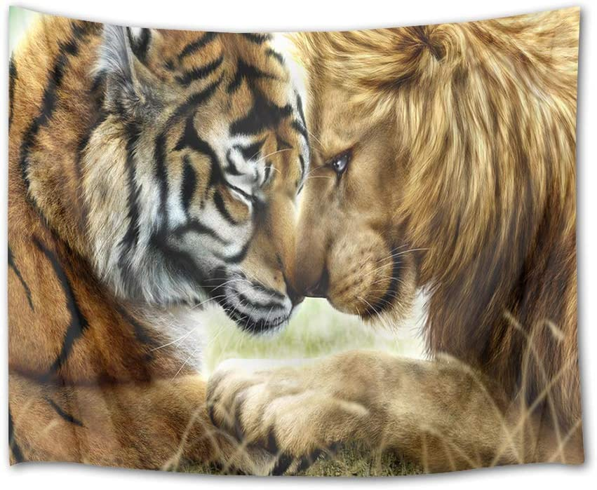 HVEST Tiger and Lion Tapestry Closed Friend Wall Hanging Wild Animal Tapestries for Bedroom,Living Room,Dorm Party Wall Decor,60Wx40H inches
