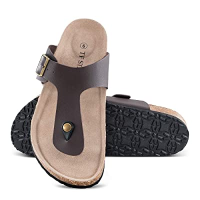TF STAR Men's Thong Flip Flop Flat Casual Cork Sandals with Buckle Strap, Leather Cork Gizeh Sandals for Men | Sandals