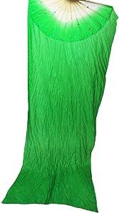 WEISIPU 1.8m Artificial Silk Belly Dance Bamboo Fans Veils 8 Colors Right Hand