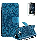 Funyye Strap Magnetic Flip Cover for Huawei Mate 10,Premium Blue Embossed Sunflower Pattern Folio Wallet Case with Stand Credit Card Holder Slots Case for Huawei Mate 10,Shockproof Ultra Thin Slim Fit Full Body PU Leather Case for Huawei Mate 10 + 1 x Free Screen Protector