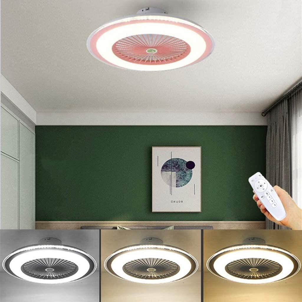 DLGGO Tranquila techo invisible ventilador con ventilador de techo Iluminación LED Luces regulables 3 la velocidad del viento regulable con mando a distancia Moderno control del ventilador de la lámpa