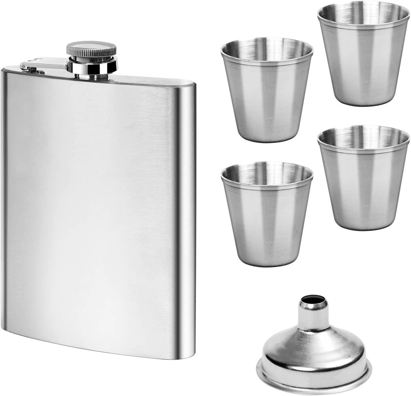 Hip Flask Set 8oz Flask Funnel Stainless Steel 4 Cups