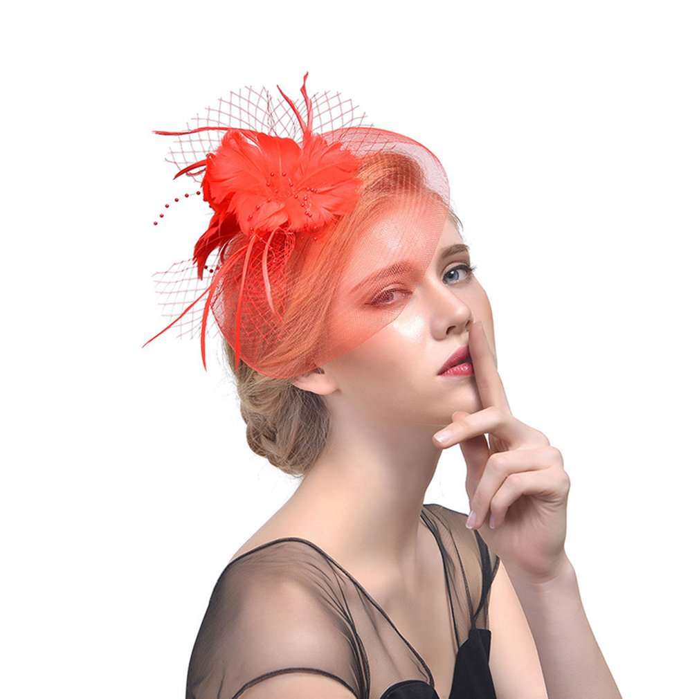 Women Fascinators Hat Vintage Feather Kentucky Derby Wedding Bridal Accessories