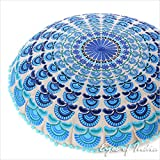 Eyes of India 24'' Blue Turquoise Decorative Mandala Floor Pillow Meditation Cushion Seating Throw Cover Indian Bohemian Boho Colorful