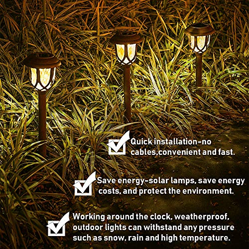 Molbory Solar Pathway Lights,10 Pack Solar Garden Lights Outdoor, Waterproof Solar Powered Garden Lights Landscape/Pathway Lights Solar Path Lights Outdoor Plastic & Glass for Landscape Patio Yard