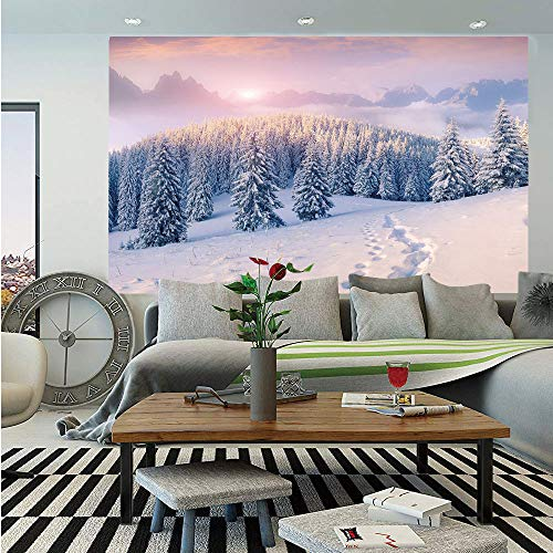 Mountain Wall Mural,Idyllic Winter Morning in Woodland Rising Sun Pine Trees Forest Snowy Foggy,Self-Adhesive Large Wallpaper for Home Decor 55x78 inches,Light Pink White ()