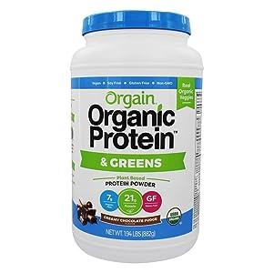 Orgain Organic Plant Based Protein & Greens Powder, Creamy Chocolate Fudge - Vegan, Dairy Free, Gluten Free, Lactose Free, Soy Free, Low Sugar, Kosher, Non-GMO, 1.94 Pound (Packaging May Vary)