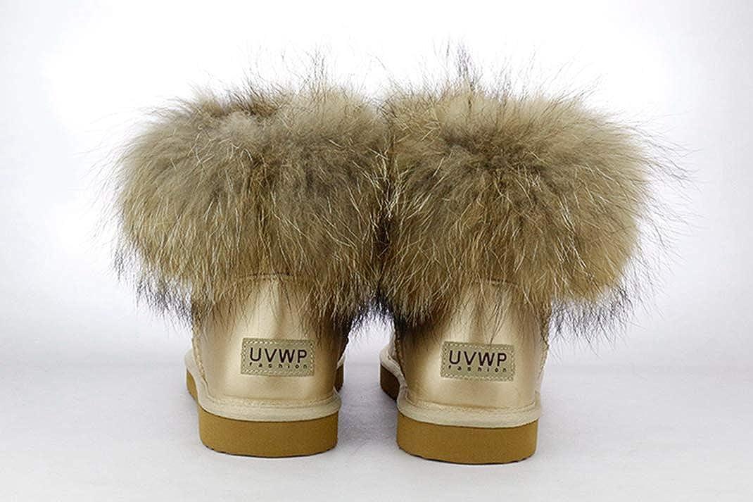 Frauen-Schnee-Aufladungen Natur Natur Natur Fox-Pelz-echtes Leder-Warmer Winter Slip-On-Waschbär-Pelz Short Stiefel 3780e6