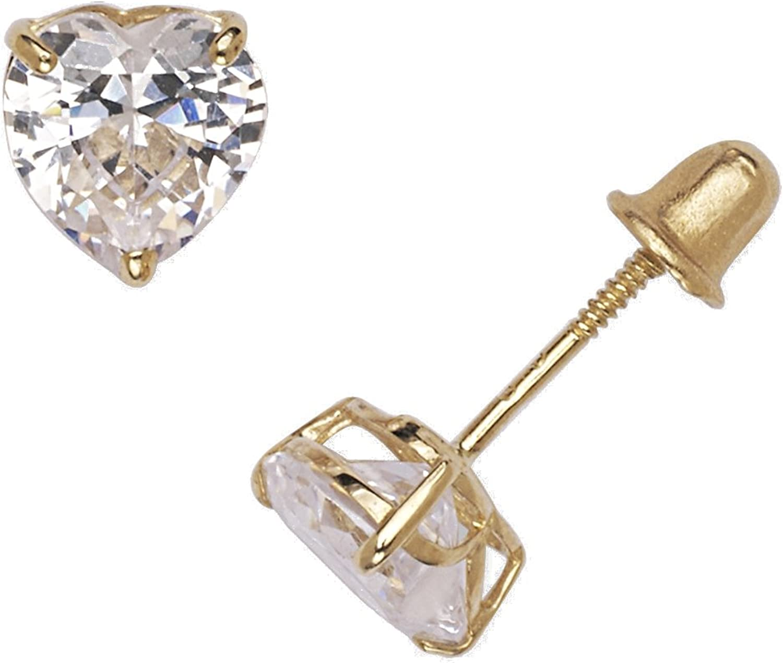 4-6mm Jewelryweb Solid 14k Yellow or White Gold Heart-cut Cubic Zirconia Basket Post Stud Earrings