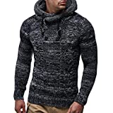 Clearance! Men's Sweater Autumn Winter Pullover Knitted Button Cardigan Coat Hooded Jacket Outwear with Drawstring (XL, Black)