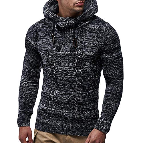 Knit Pattern Top Tank (MODOQO Men's Hoodies Sweater Long Sleeve Knitted Pullover Sweatshirt Tops (Black,M))