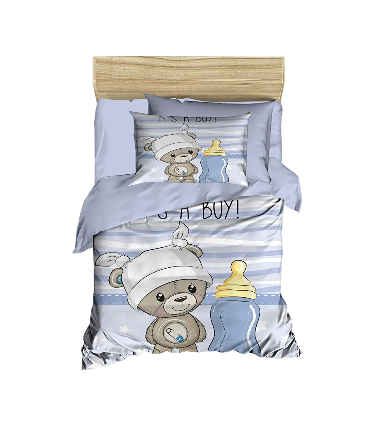 100% Cotton Baby Bedding Bear Themed Nursery Baby Bed Set, Toddlers Crib Bedding for Baby Boys, Duvet Cover Set with Comforter, 5 Pieces
