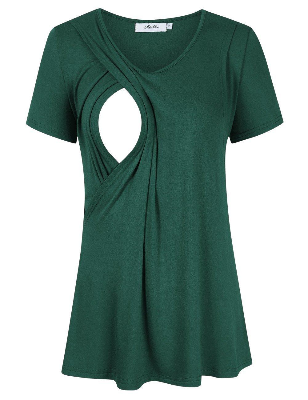 MissQee Maternity Nursing Tops Short Sleeve Breastfeeding T-Shirts M Grass Green