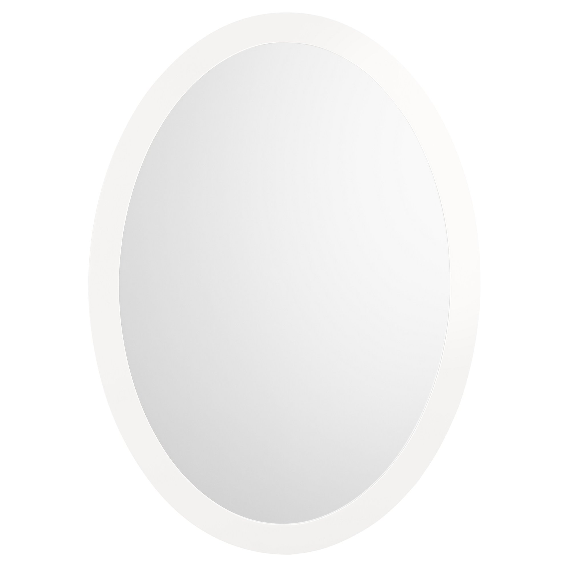 RONBOW Silhouette 23'' x 32'' Contemporary Solid Wood Frame Wall Decor Oval Bathroom Mirror in Glossy White 600023-E23