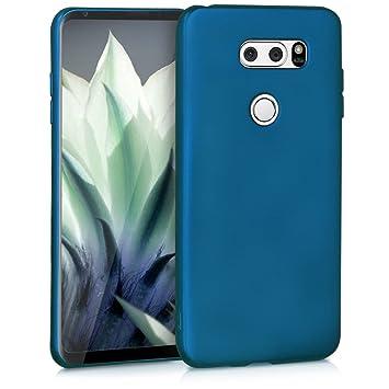 kwmobile Funda para LG V30 / V30S / V30+ / V30S+ - Carcasa para móvil en TPU Silicona - Protector Trasero en Azul Metalizado