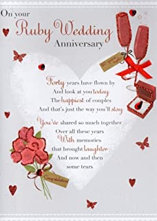 Amazon 40th ruby wedding anniversary 40 year so right together ruby 40th anniversary greeting card second nature poetic words cards m4hsunfo