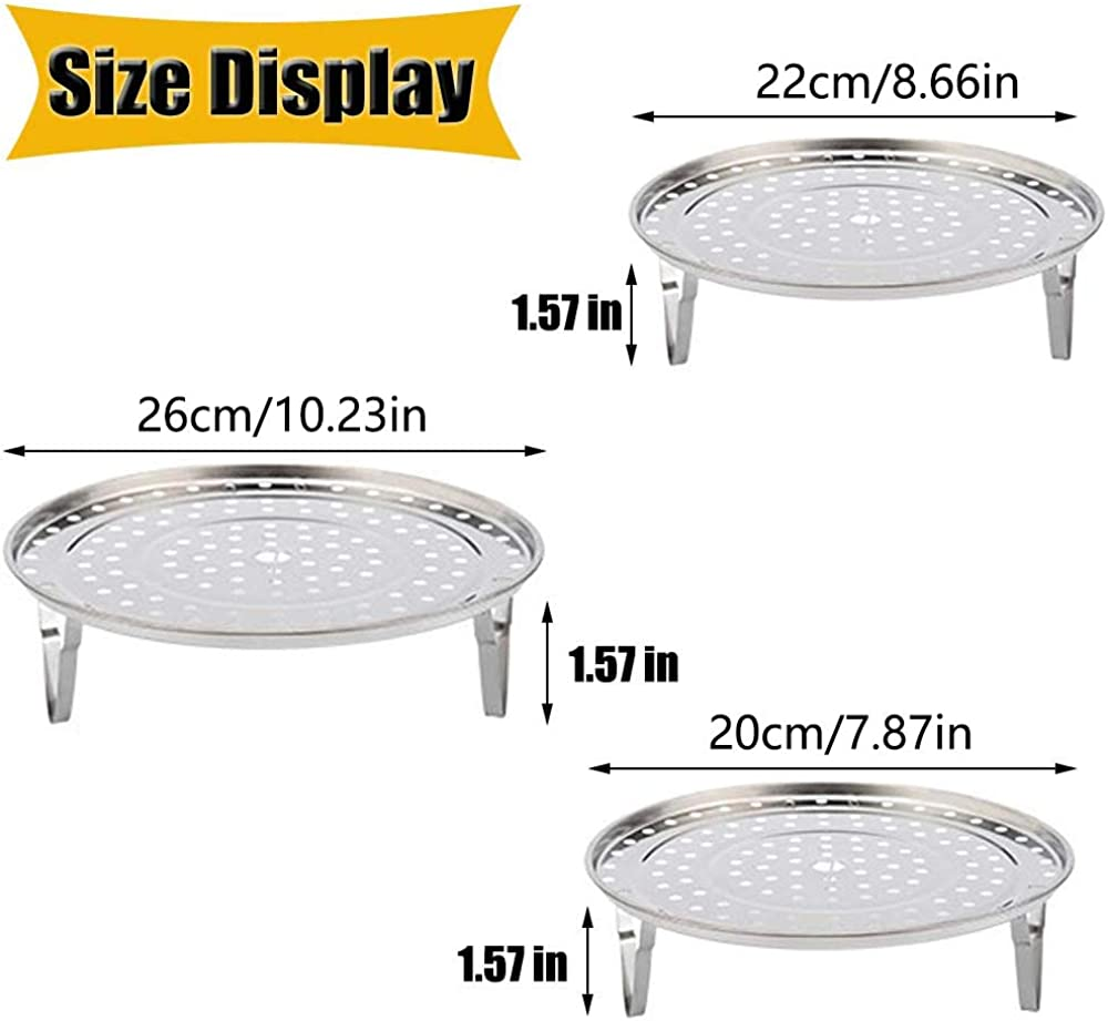 AMACOAM Steamer Rack Round Stainless Steel Steam Rack Steaming Rack Stand Steam Tray Round Steamer Rack with Removable Legs Steaming Stand Home Kitchen Cooking 20cm 22cm 26cm 3 Pack Silver