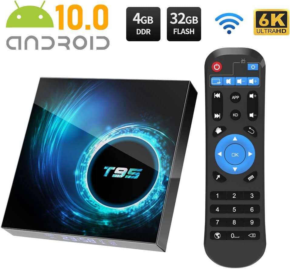 Android TV Box, T95 Android 10.0 TV Box 4GB RAM32GB ROM Allwinnner H616 Quad Core Support 2.4Ghz WiFi 6K HDMI Smart TV Box