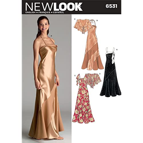 New Look 6531 Size A Misses Special Occasion Dresses Sewing Pattern, Multi-Colour
